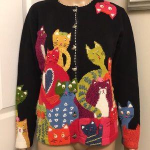 "NWT Susan Bristol ""Cats ""Cardigan Sweater. Size: M"
